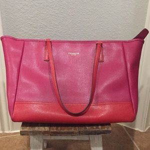 Pink and red Coach tote shoulder bag